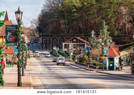 Helen Georgia USA - December 14 2016: View of the Main street with Christmas decorations in bright sunny day