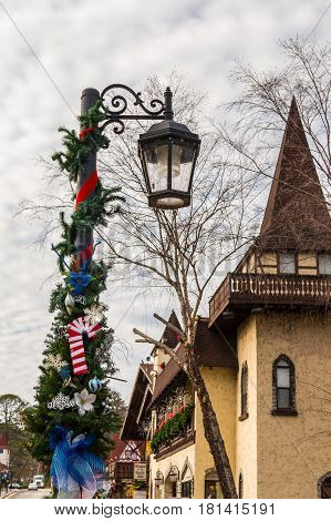 Helen Georgia USA - December 14 2016: The street light with Christmas decorations on the Main Street