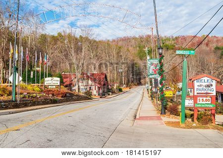 Helen Georgia USA - December 14 2016: View of the Chattahoochee strasse with Christmas decorations in bright sunny day