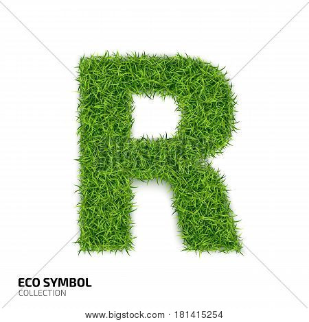 Letter of grass alphabet. Grass letter R isolated on white background. Symbol with the green lawn texture. Eco symbol collection. Vector illustration