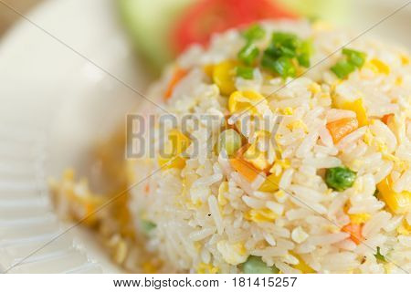 Closeup Vegetable Egg Fried Rice Food In Restaurant.