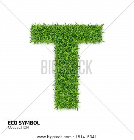 Letter of grass alphabet. Grass letter T isolated on white background. Symbol with the green lawn texture. Eco symbol collection. Vector illustration