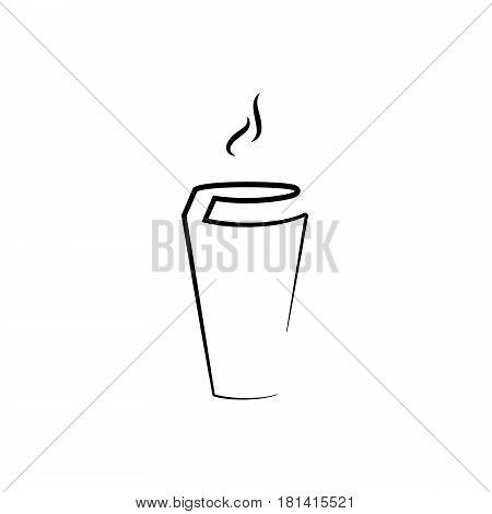 Coffee cup and inscription coffee, glass coffee cup icon, coffee mug.
