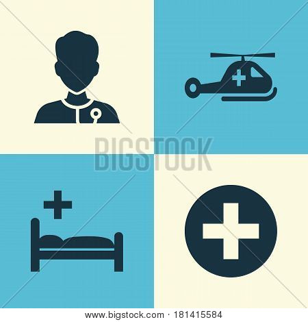 Medicine Icons Set. Collection Of Plus, Polyclinic, Copter And Other Elements. Also Includes Symbols Such As Care, Clinic, Helicopter.