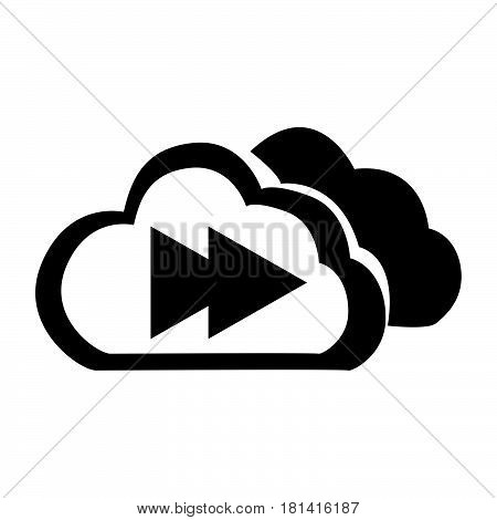 Flat Black Cloud The Next Button Icon