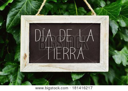 closeup of a wooden-framed chalkboard with the text dia de la tierra, earth day written in spanish, in a tree