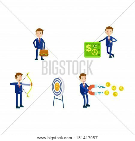 Cartoon businessman in blue suit and red tie in four different positions with bag full of money, with safe, hit target and with magnet isolated on white background. Vector illustration of careerist.
