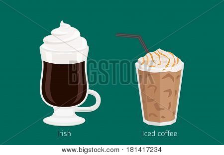 Irish and Iced coffee with foam and tubule in glass cups on emerald background with signs under each. Kinds of Irish coffee. Minimalist isolated vector illustration for coffee shops and cafes.