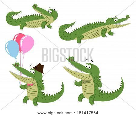 Cute cartoon crocodiles in natural position, on hind legs and with balloons in hat and bow tie isolated on white background. Cute big reptiles vector illustration. Drawn friendly crocs with eyebrows.