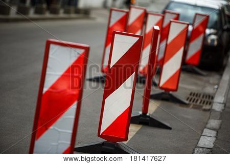 Road Traffic Works Safety Pole Post Obstacle Detour Sign Barrier,