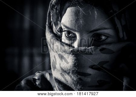 woman with veil in black and white