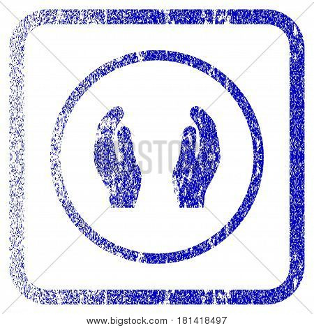 Care Hands textured icon for overlay watermark stamps. Blue vectorized texture. Flat vector symbol with dirty design inside rounded square frame. Framed blue rubber seal stamp imitation.