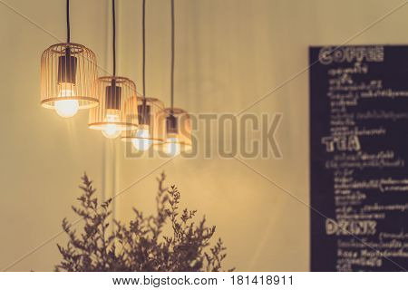 Cafe Decoration Closeup Hanging Lighting Interior Design Of Coffee Shop.