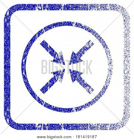 Center Arrows textured icon for overlay watermark stamps. Blue vectorized texture. Flat vector symbol with dirty design inside rounded square frame. Framed blue rubber seal stamp imitation.