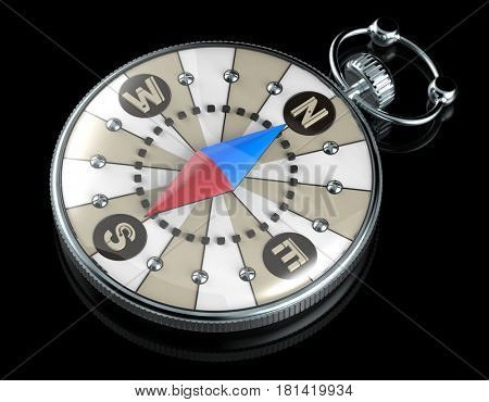 compass icon, 3d render, isolated on black background