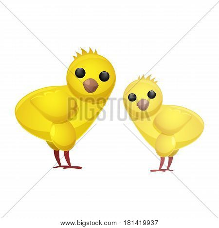 Cute fluffy spring chickens isolated on white background. Animalistic symbols of Easter celebration vector illustration. Friendly feast animal to make religious holiday attractive to children.