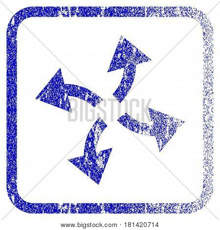 Centrifugal Arrows textured icon for overlay watermark stamps. Blue vectorized texture. Flat vector symbol with scratched design inside rounded square frame. Framed blue rubber seal stamp imitation.