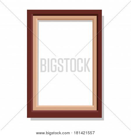 Simple brown rectangular frame isolated on white background. Minimalistic empty framework vector illustration. Square plain framing for photographs. Small interior decoration for cozy atmosphere.