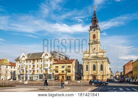 ORADEA, ROMANIA - MARCH 21,2017 - Church of Luna in Oradea. Oradea is located on the banks of Crisul Repede River .