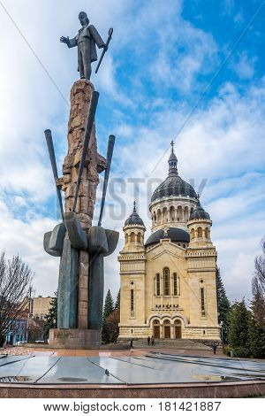 CLUJ-NAPOCA, ROMANIA - MARCH 20,2017 - Cathedral of Dormition Theotokos in Cluj - Napoca . Cluj-Napoca is located in the central part of Transylvania.