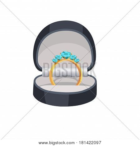 Gold ring with turquoise diamonds in box isolated on white background. Expensive jewelry with precious stones vector illustration. Women elegant accessory for evening look. Small luxury outfit detail.