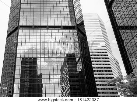 World Trade Center Denver With Reflections In Monochrome