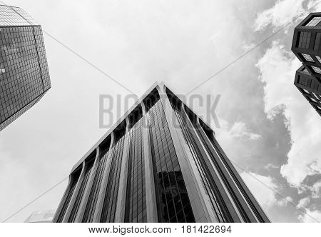 Skyscrapers Of Denver In Monochrome