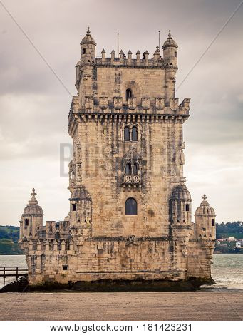 The façade of the  Belem tower Portugal