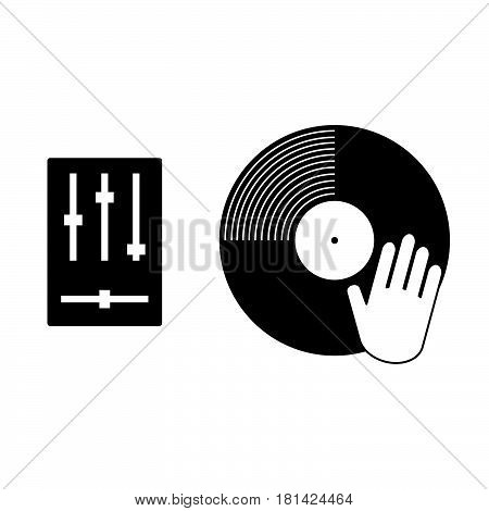Vynil Record With Hand Scratching Icon Illustration