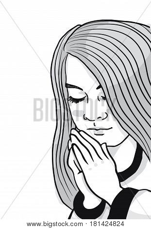 A gray black and white illustration of a young girl with her hands folded saying her prayers.