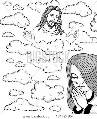 Praying girl and Jesus in the sky. Jesus Christ, blessing, Christianity