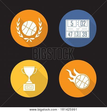 Basketball championship flat design long shadow icons set. Ball in laurel wreath, scoreboard, winner gold trophy, burning ball. Vector silhouette illustration