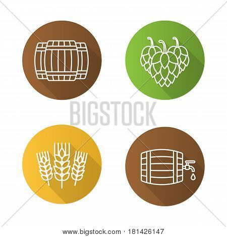 Beer flat linear long shadow icons set. Alcohol wooden barrels, hop cones, wheat ears. Beer brewery. Vector line symbols