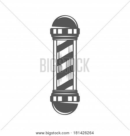 Vintage barber shop pole icon, design element in monochrome style