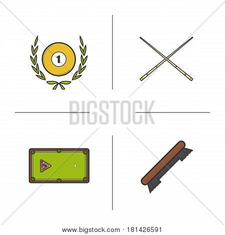 Billiard championship color icons set. Cuesports equipment. Billiard brush, table with balls rack, crossed cues and eight ball in laurel wreath. Isolated vector illustrations