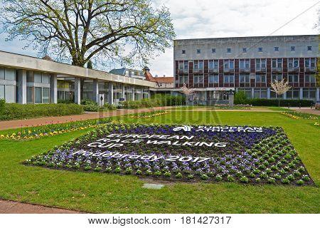 PODEBRADY, CZECH REPUBLIC - april 09. 2017: Flowerbed for european racewalking cup