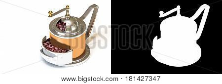 3D isometric rendering of brass vintage coffee grinder with coffee beans isolated on white background with alpha channel section for easy split unwanted background.