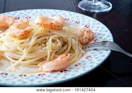 Italian spaghetti with lemon cream and shrimpitaly