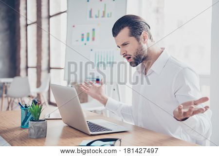 Portrait Of Angry Businessman In Bad Mood Showing Again Failed The Task