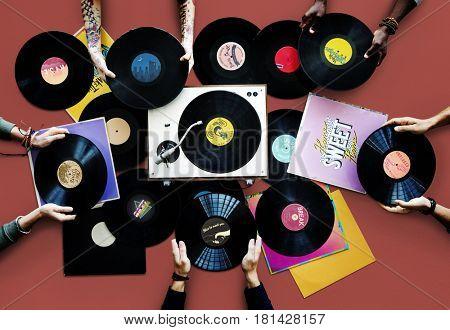 Vinyl collection retro record music audio