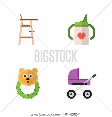Flat Infant Set Of Rattle, Stroller, Nursing Bottle And Other Vector Objects. Also Includes Rattle, Bear, Chair Elements.