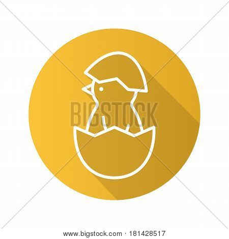 Newborn chicken flat linear long shadow icon. Nestling in egg shell. Vector line symbol