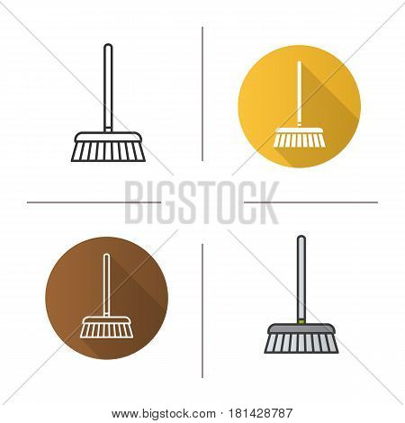 Mop icon. Flat design, linear and color styles. Cleaning service. Isolated vector illustrations