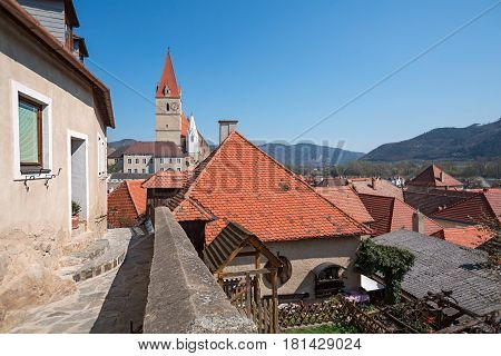 Market town of Weissenkirchen-in-der-Wachau. Wachau-Valley, district of Krems-Land, Lower Austria.