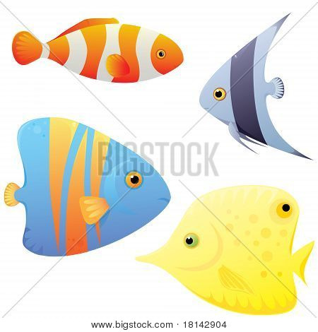 Set Of Bright Tropical Fish
