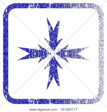 Compression Arrows textured icon for overlay watermark stamps. Blue vectorized texture. Flat vector symbol with dust design inside rounded square frame. Framed blue rubber seal stamp imitation.