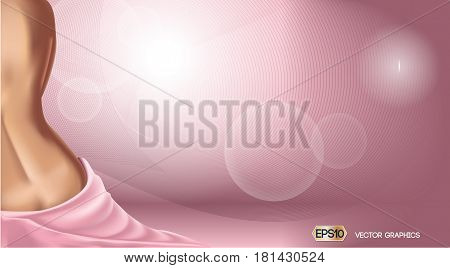 Pink background with woman body. Skin care or ads template. 3D Realistic Woman silhouette illustrations. Pastel Pink Nude colors