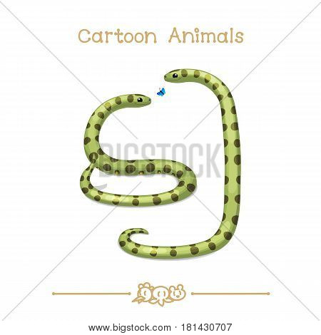 Toons series cartoon animals: Butterfly and cute anacondas