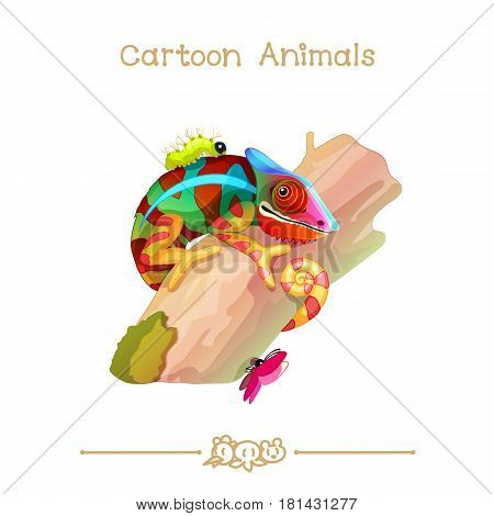 Toons series cartoon animals: colorful chameleon on tree