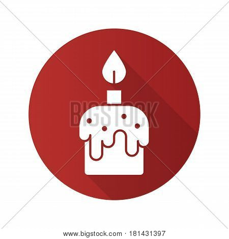 Melting candle flat design long shadow icon. Vector silhouette symbol